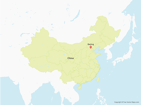 Free Vector Map of China with Provinces including Taiwan