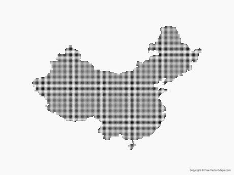 Free Vector Map of China - Dots