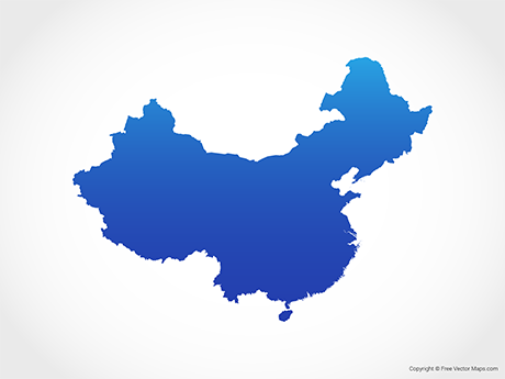 Free Vector Map of China - Blue