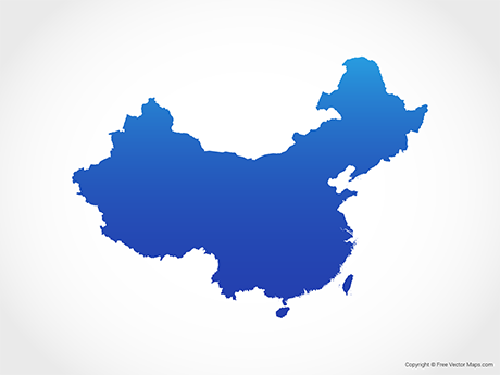 Free Vector Map of China including Taiwan - Blue
