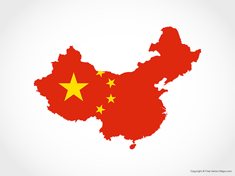 Free Vector Map of China - Flag