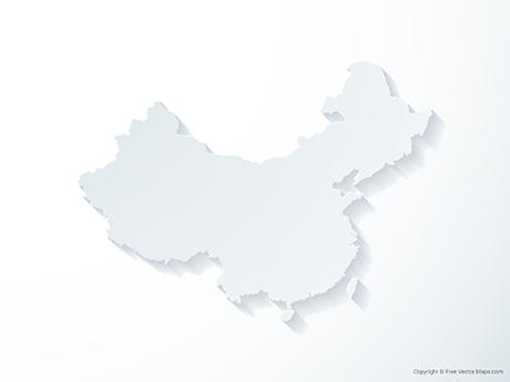 Free Vector Map of China including Taiwan - 3D