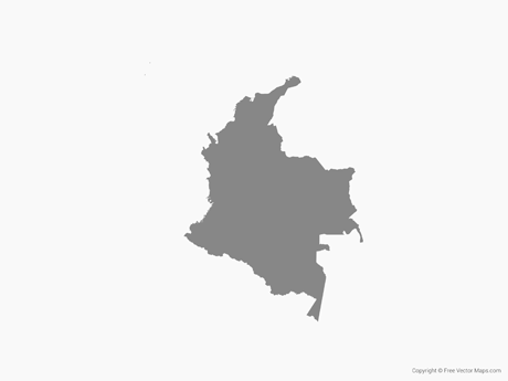 Free Vector Map of Colombia - Single Color