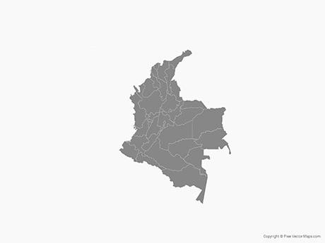 Free Vector Map of Colombia with Regions - Single Color