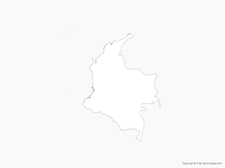 Free Vector Map of Colombia - Outline