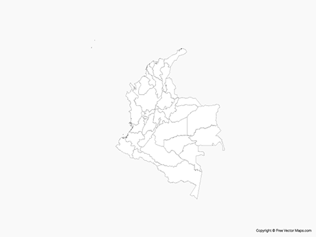 Free Vector Map of Colombia with Regions - Outline