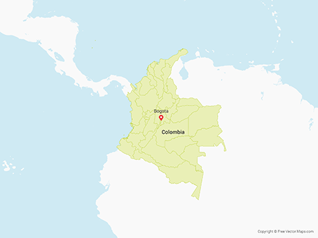 Free Vector Map of Colombia with Regions