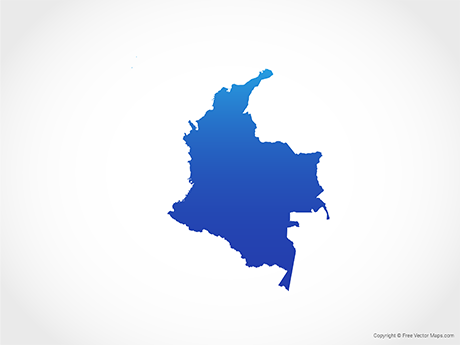 Free Vector Map of Colombia - Blue