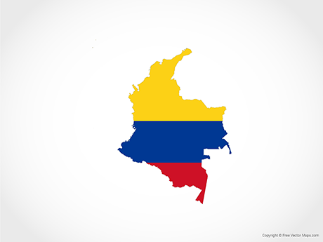 Free Vector Map of Colombia - Flag