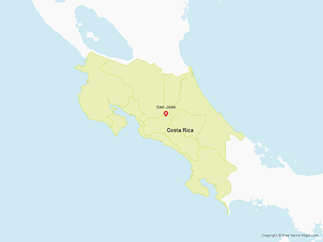 Free Vector Map of Costa Rica with Provinces