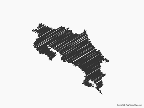 Free Vector Map of Costa Rica - Sketch