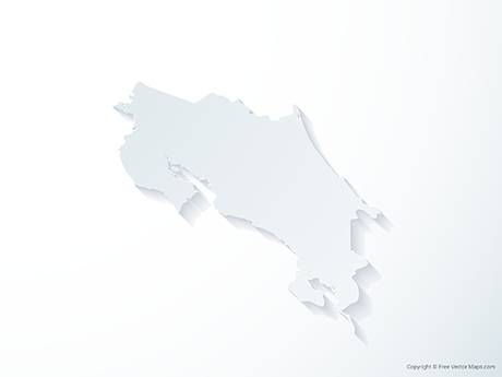 Free Vector Map of Costa Rica - 3D