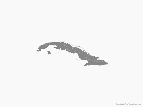 Free Vector Map of Cuba with Provinces - Single Color