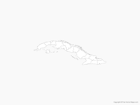 Free Vector Map of Cuba with Provinces - Outline