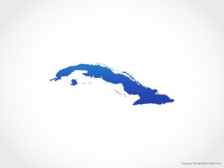 Free Vector Map of Cuba - Blue