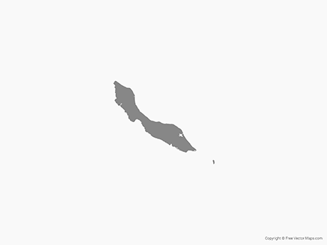 Free Vector Map of Curaçao - Single Color