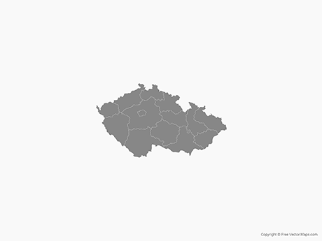 Free Vector Map of Czech Republic with Regions - Single Color
