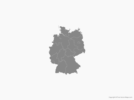 Free Vector Map of Germany with States - Single Color