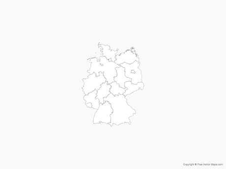 Map of Germany with States - Outline