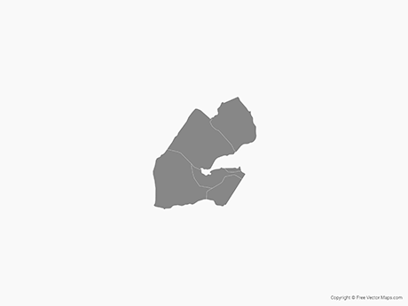 Free Vector Map of Djibouti with Regions - Single Color