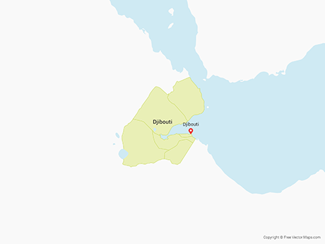 Free Vector Map of Djibouti with Regions