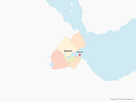 Free Vector Map of Djibouti with Regions - Multicolor