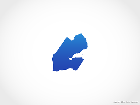 Free Vector Map of Djibouti - Blue