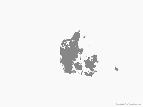 Free Vector Map of Denmark - Single Color