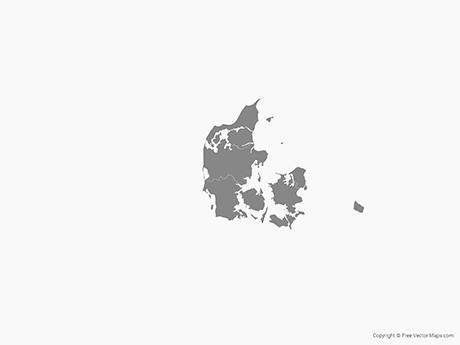 Free Vector Map of Denmark with Regions - Single Color