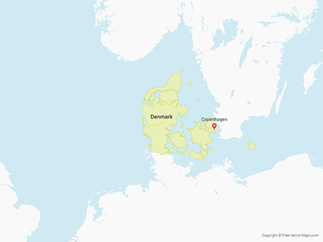 Free Vector Map of Denmark with Regions