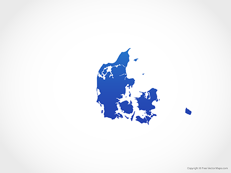 Free Vector Map of Denmark - Blue