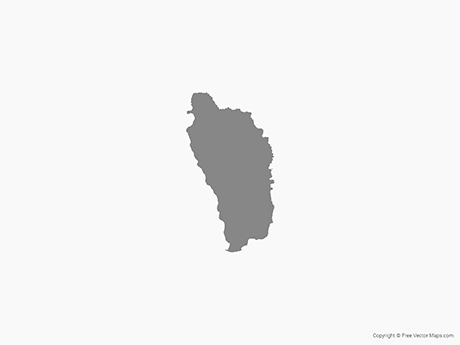 Free Vector Map of Dominica - Single Color