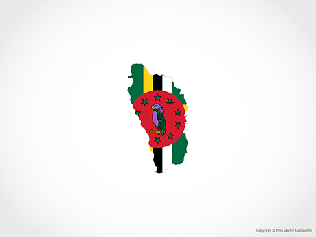 Free Vector Map of Dominica - Flag