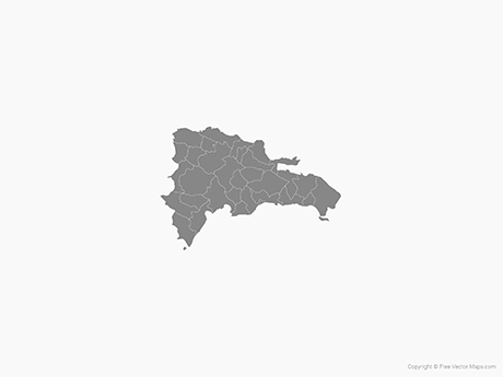 Free Vector Map of Dominican Republic with Provinces - Single Color