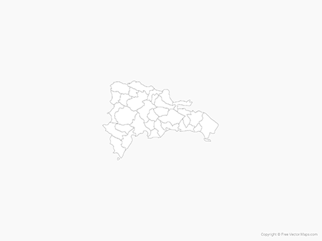 Free Vector Map of Dominican Republic with Provinces - Outline
