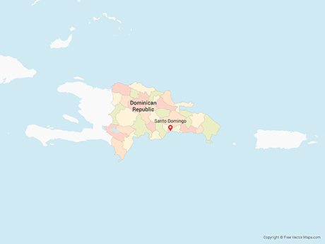 Free Vector Map of Dominican Republic with Provinces - Multicolor