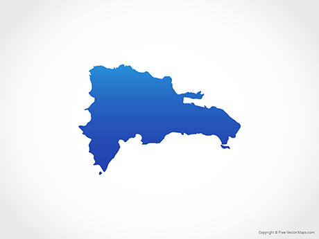 Free Vector Map of Dominican Republic - Blue