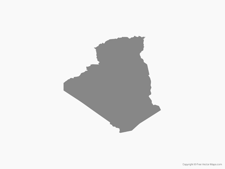 Free Vector Map of Algeria - Single Color