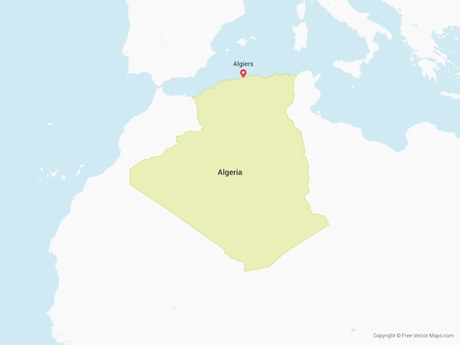 Free Vector Map of Algeria