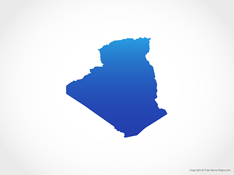 Free Vector Map of Algeria - Blue