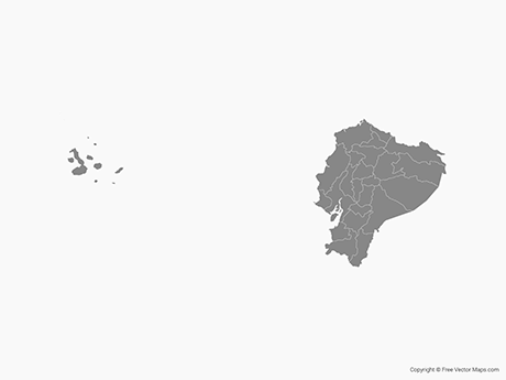 Free Vector Map of Ecuador with Regions - Single Color