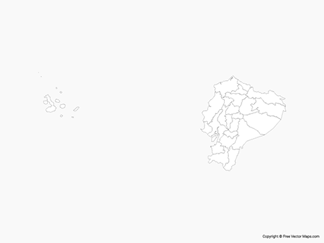 Free Vector Map of Ecuador with Regions - Outline