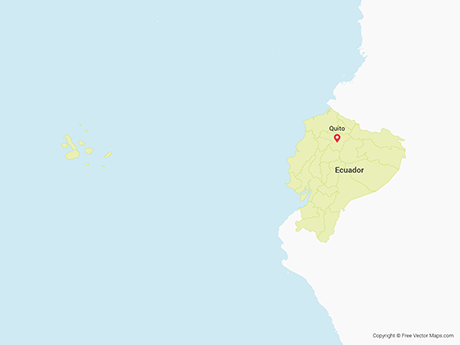 Free Vector Map of Ecuador with Regions