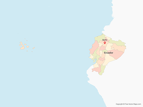 Free Vector Map of Ecuador with Regions - Multicolor
