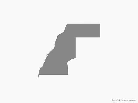 Free Vector Map of Western Sahara - Single Color