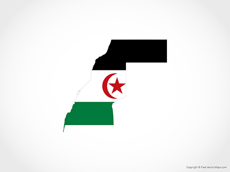 Map of Western Sahara - Flag