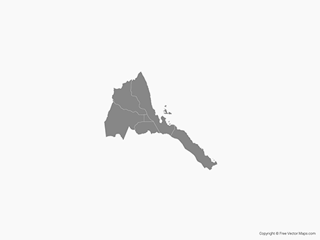 Free Vector Map of Eritrea with Regions - Single Color
