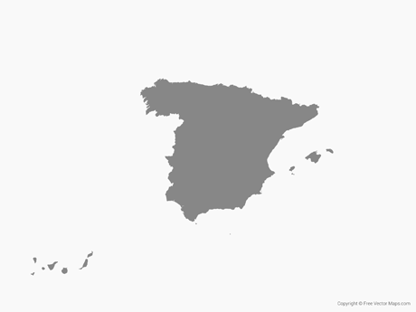 Free Vector Map of Spain - Single Color
