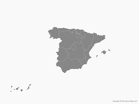 Free Vector Map of Spain with Regions - Single Color