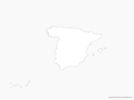Free Vector Map of Spain - Outline
